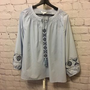 Embroidered Smock Neck Top